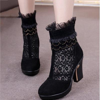 Lace Black Beading Suede Platform Winter Boots_3