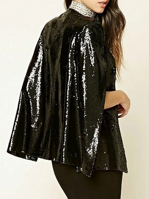 Black Casual Glitter-finished Coat_3