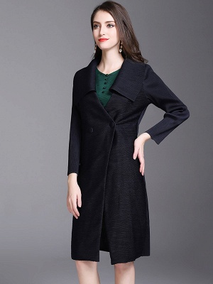 Shift Buttoned Pleated Shawl Collar Coat_2