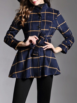 Navy Blue Bow Casual Stand Collar Checkered/Plaid Coat_4