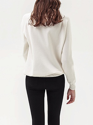 White Shift Casual Long Sleeve Graphic Sweater_3