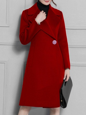 Casual Long Sleeve Lapel Solid Pockets Buttoned Coat_1