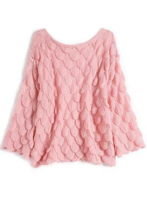 Pink Long Sleeve Geometric Paneled Shift Sweater_6