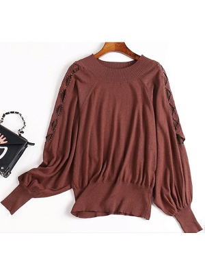 Crew Neck Batwing Casual Sweater_2