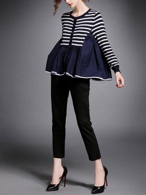 Royal blue Striped Long Sleeve Shift Sweater_4