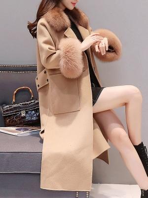 Long Sleeve Shawl Collar Paneled Pockets Slit Fluffy Coat_9