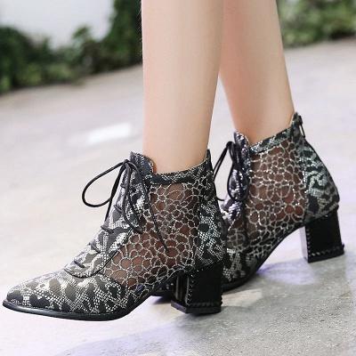 Zipper Chunky Heel Mesh Fabric Pointed Toe Boots_4