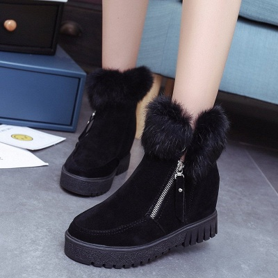 Zipper Fall Suede Chunky Heel Round Toe Boot_2