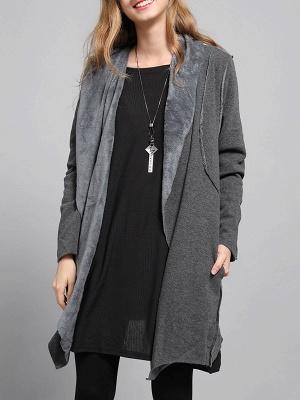 Shawl Collar Asymmetric Solid Casual Long Sleeve Coat_10