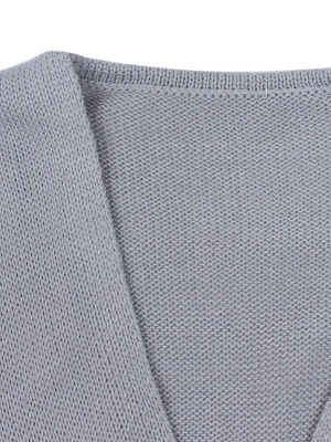 Gray H-line Long Sleeve Knitted Sweater_12