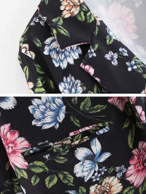 Black Cotton Casual Shift 3/4 Sleeve Floral Coat_6