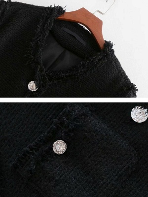 Black Casual Solid Crew Neck Buttoned Paneled Pockets Coat_4
