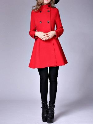Long Sleeve Casual Wool Stand Collar Coat_10