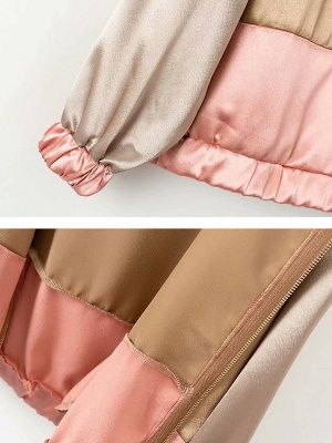 Pink Casual Hoodie Paneled Pockets Zipper Color-block Coat_6