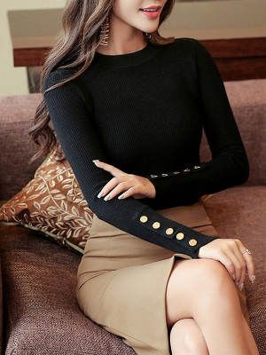 Long Sleeve Sheath Solid Ribbed Casual Sweater_3