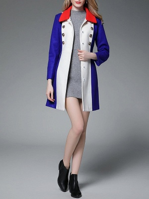 Royal blue Solid Buttoned Pockets Color-block Coat_5