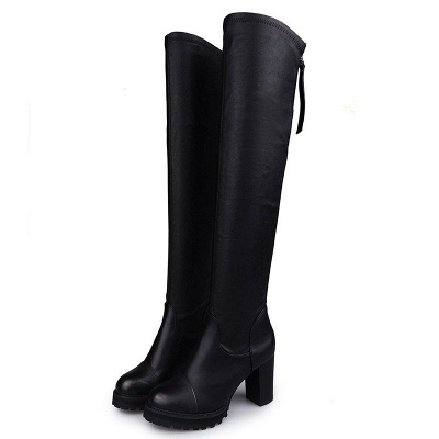 Black Fall Chunky Heel Zipper PU Boots_4