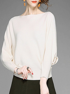 Batwing Casual Solid Sweater_1