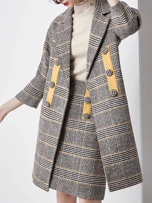 Gray 3/4 Sleeve Pockets Houndstooth Lapel Coat_1