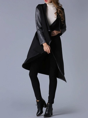 Black Shawl Collar Casual Paneled Coat_3