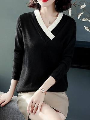 Long Sleeve Solid Casual Piping Sweater_4