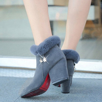 Suede Daily Zipper Chunky Heel Fur Pointed Toe Boot_5