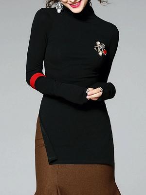 Army green Turtleneck Slit Long Sleeve Cotton Sweater_7