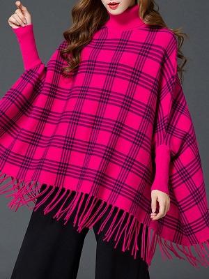 Checkered/Plaid Elegant Batwing Sweater_8