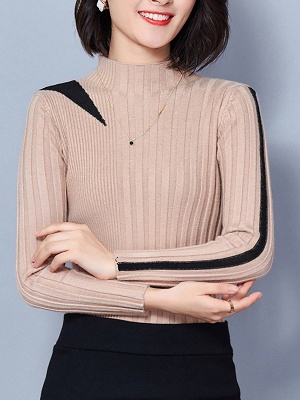 Solid Casual Long Sleeve Turtleneck Sweater_3