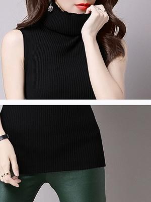 Casual Solid Sleeveless Ribbed Sheath Sweater_7