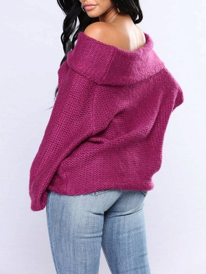 Casual Off Shoulder Solid Knitted Balloon Sleeve Sweater_6