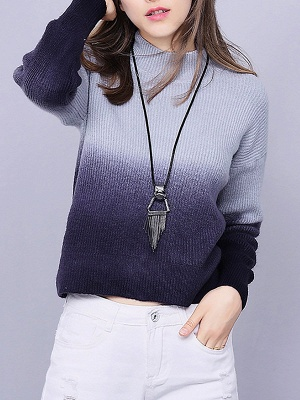 Blue Shift Knitted Casual Crew Neck Long Sleeve Knit Top_5
