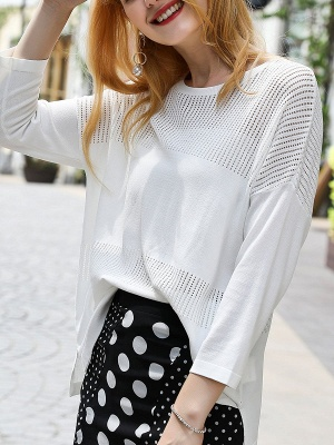 White Cutout Long Sleeve Shift Sweater_6