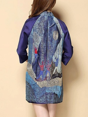 Printed Shift Half Sleeve Casual Stand Collar Coat_6