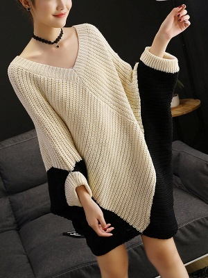 Knitted Batwing Shift Casual Solid Knit Top_2