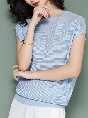 Elegant Ice Yarn Knit Short Sleeve Shift Knitted Solid Sweater_3