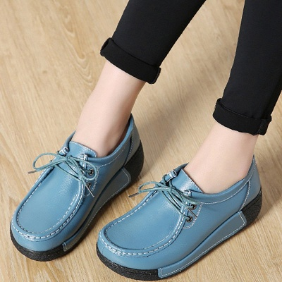 Wedge Heel Daily Lace-up Round Toe Loafers_11