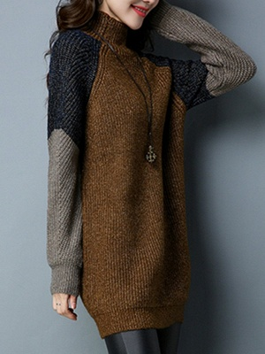 Long Sleeve Casual Intarsia Knitted Turtleneck Sweater_4