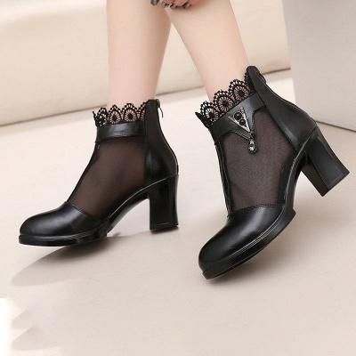 Chunky Heel Zipper Round Toe Elegant PU Boots_5