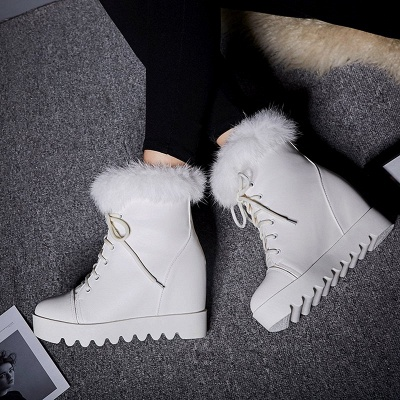Lace-up Daily Wedge Heel Round Toe Fur PU Boot_1