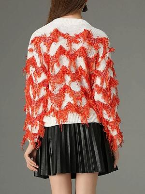 Orange Long Sleeve Sheath Crew Neck Sweater_3