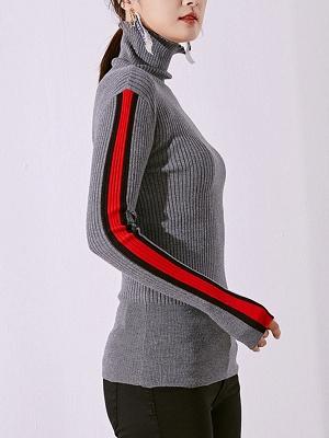 Solid Casual Sheath Long Sleeve Sweater_4
