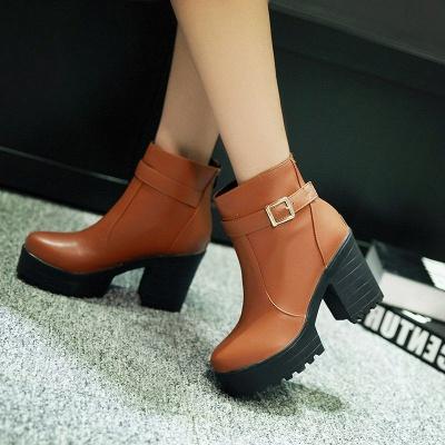 Daily PU Chunky Heel Round Toe Elegant Boots_2