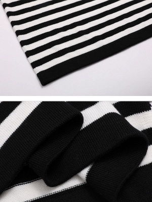 Black-white Long Sleeve Cotton Shift Printed Sweater_5