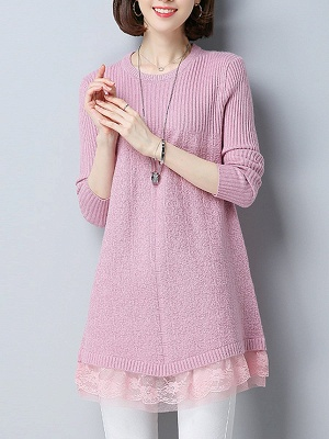 Long Sleeve Solid Casual Crew Neck Cotton Sweater_1