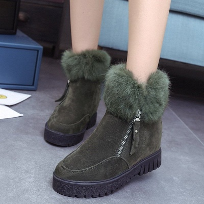 Zipper Fall Suede Chunky Heel Round Toe Boot_3