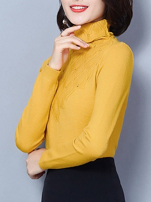 Sheath Turtleneck Long Sleeve Casual Embossed Sweater_9