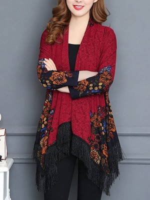 Floral Casual Long Sleeve Coat_1