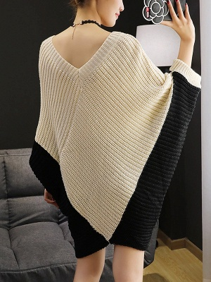 Knitted Batwing Shift Casual Solid Knit Top_4