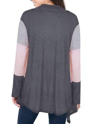 Cotton Casual Asymmetric Long Sleeve Color-block Coat_5